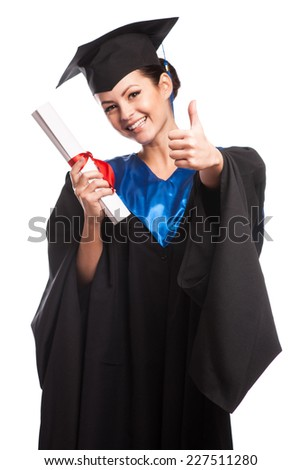 young woman college graduate portrait wearing cap and gown with diploma isolated on white background - stock photo