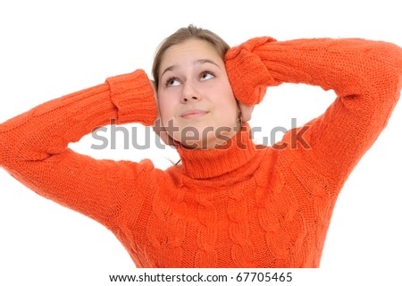 Young woman with  its hands covering his ears not to hear noise. - stock photo