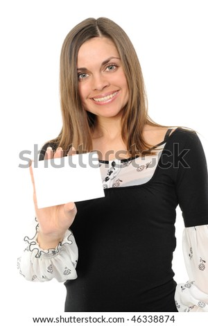 Young woman with white card - isolated over a white background