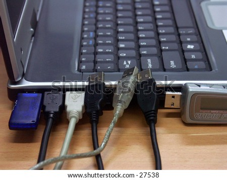 """Your USB port is full"". To ilustrated the connectivity of laptop/notebook with USB port. But, number of USB port is now full so the others USB connection in quee"
