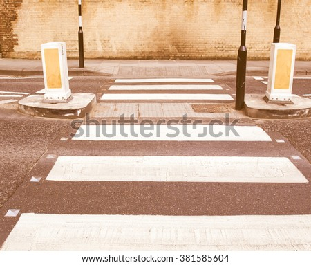 Zebra crossing pedestrian traffic sign on a road vintage