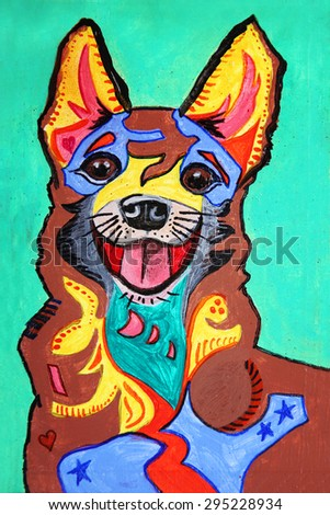 Zentangle stylized chihuahua painting on wood. Hand Drawn doodle illustration using markers for the outlines. good for products like tee shirts, magnets or greeting cards - stock photo