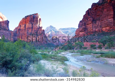 Zion Canyon  National Park, with the Virgin river at sunrise, Utah, USA - stock photo