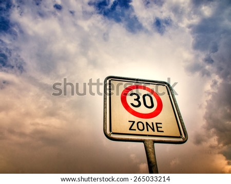 30 zone sign , speed limit  - stock photo