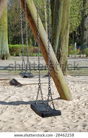 A abandoned seesaw on a playground. Sad impression...