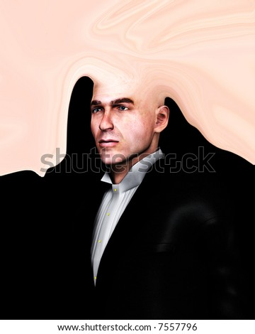 A  abstract image of a man with a head that looks like a splat.