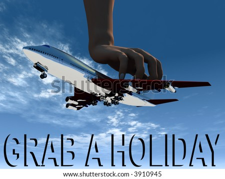 A abstract image of a plane that is being grabbed midflight by a giant hand.