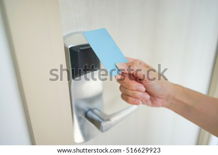 A Access Card Holding In Asian Woman Hand For Door Access Control Scanning  Key Card To