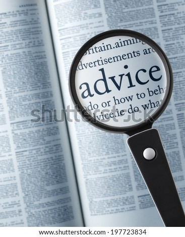 a advice definition in a dictionary - stock photo