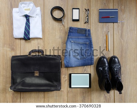 A aerial view of a outfit of businessman - stock photo