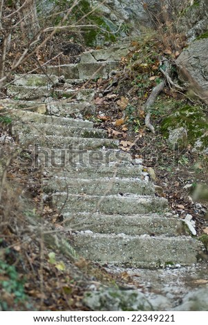 a aged old beton stairway leading up a mountain very steep