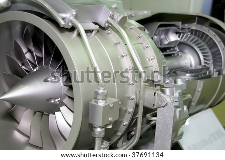 a aircraft jet engine detail in the exposition - stock photo