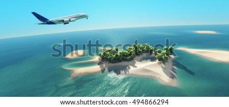 A airplane flies over a tropical island. This is a 3d render illustration