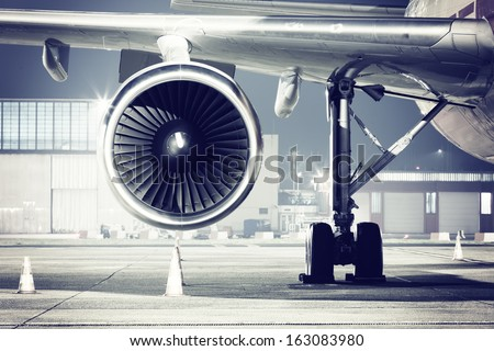 a airplane turbine detail - stock photo