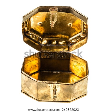 a ancient golden casket isolated over a white background