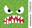 A angry monster's face, close up. - stock vector