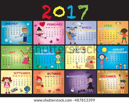 Annual Calendar Template Stock Illustration