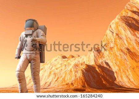 A Astronaut walking on the surface of Mars. 3D illustration. - stock photo