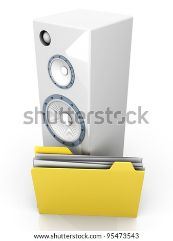 A Audio speaker with a Folder. 3D rendered illustration.