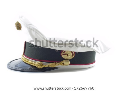 a Austrian police hat on a white background - stock photo