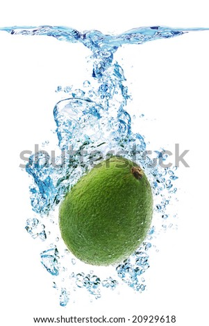 A Avocado splashing into water against a white background.