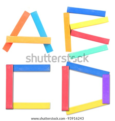 A-B-C-D : Font design form crayon color - stock photo