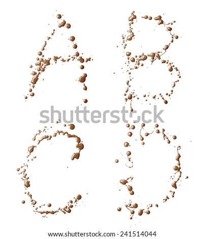 A, B, C, D letter set made with the drops and spills of the oil paint, isolated over the white background - stock photo