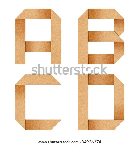 A,B,C,D Origami alphabet letters from recycled paper with clipping path