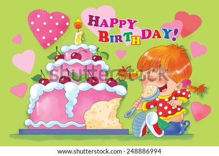 Birthday Greeting Card Little Girl Sitting Stock Illustration