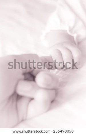 A baby holding parent index finger with soft lighting and sepia tone - stock photo
