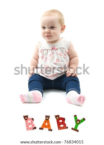 A baby isolated against a white background