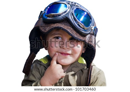 A baby pilot with huge hat and glasses, isolated. - stock photo