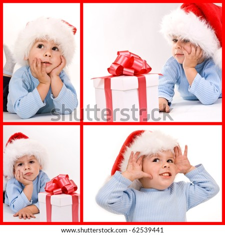 A baby wearing a Santa hat looking at a gift - collage