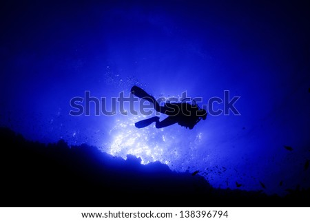 A back lit shot of a scuba diver at the egyptian Elphinestone reef.