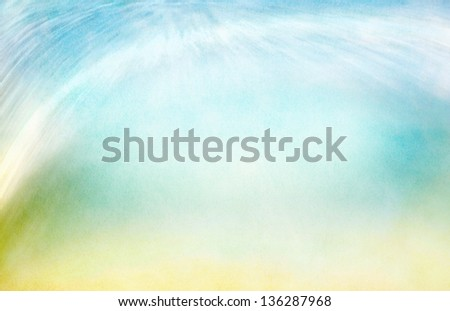 A background abstraction of water motion mixed with clouds and fog.  Image displays a pleasing paper grain and texture when viewed at 100%. - stock photo