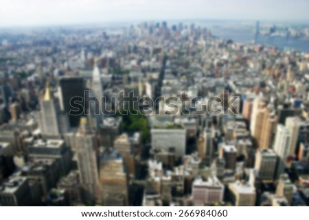 A background blur image of lower Manhattan New York city from 2013