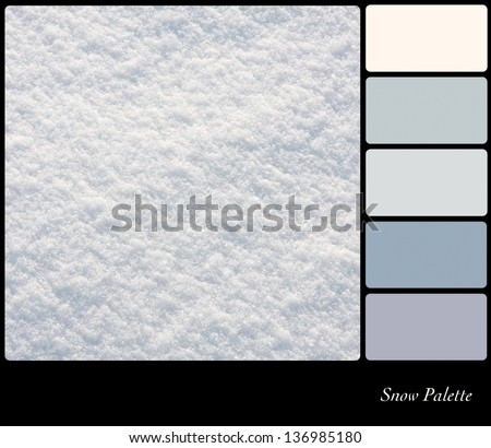 A background closeup of fresh snow in a colour palette with complimentary colour swatches. - stock photo