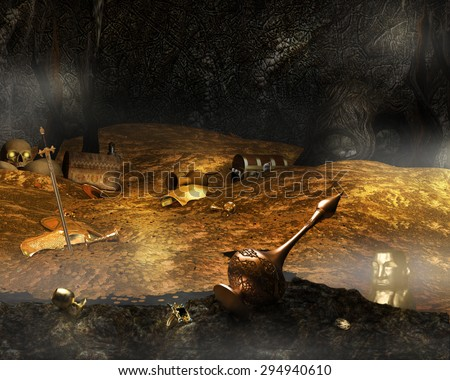 A background illustration of a cave filled with gold treasure. - stock photo
