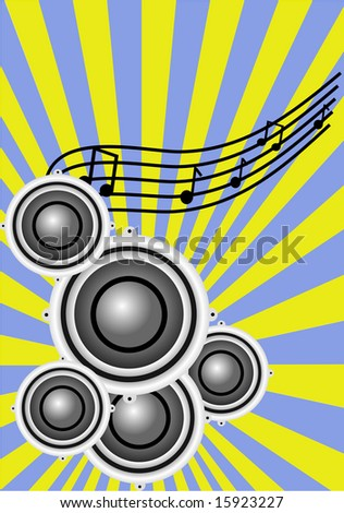 a background illustration with a group of musical speakers on a sunburst yellow and blue background with a musical clef
