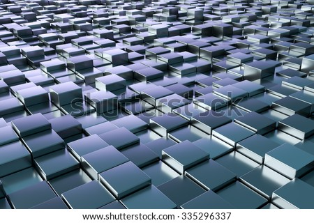 A background image of some blue metallic cubes