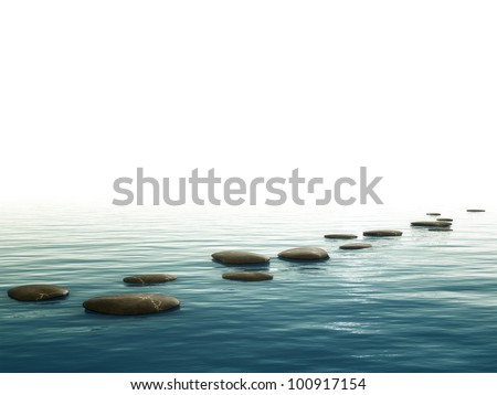 A background image with some nice step stones at the bottom - stock photo