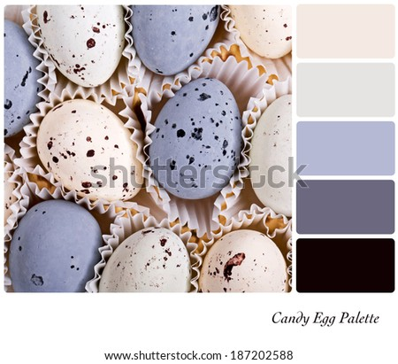 A background of candy eggs in a colour palette with complimentary colour swatches - stock photo