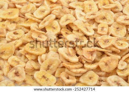 A background of dried organic banana chips