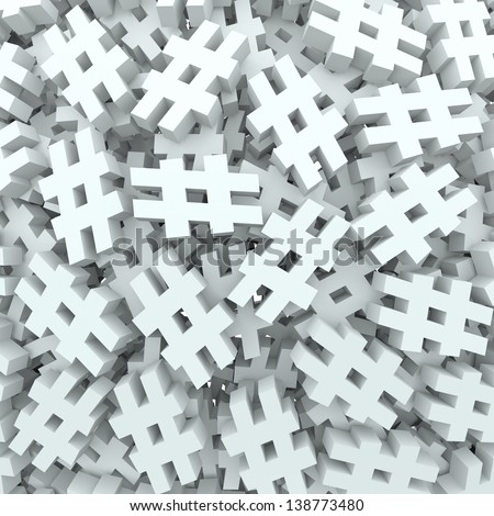 A background of hash tags or pound or number signs to illustrate new social media technology platforms that let you tag posts, updates or messages - stock photo