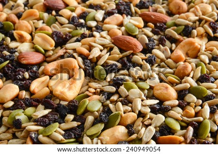 A background of healthy organic  trail mix - stock photo