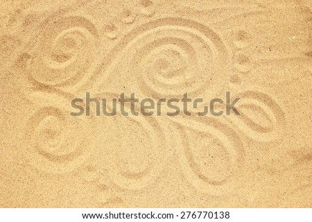 a background of sand with shells on the beach  - stock photo