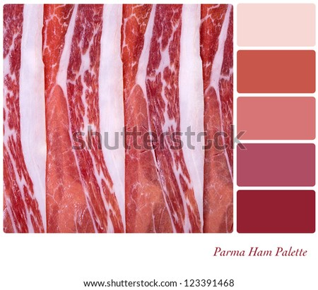 A background of sliced Parma ham. Colour palette with complimentary colour swatches - stock photo