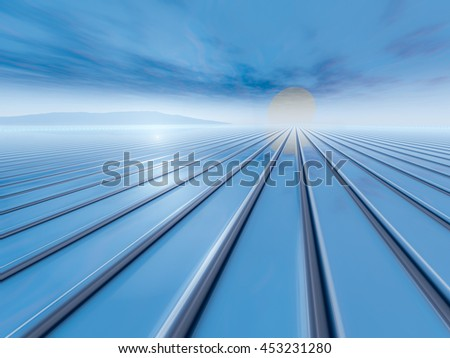 A background surreal sunrise horizon 3D rendering. - stock photo