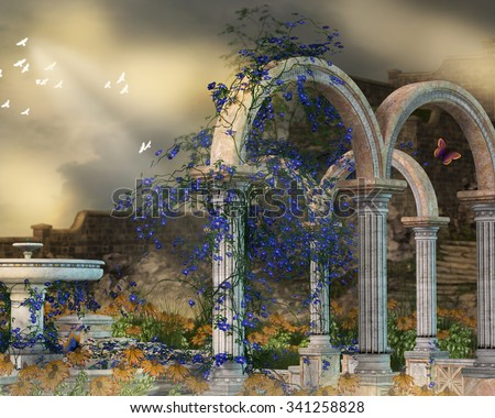 A background with flowered vines growing on picturesque arches. - stock photo