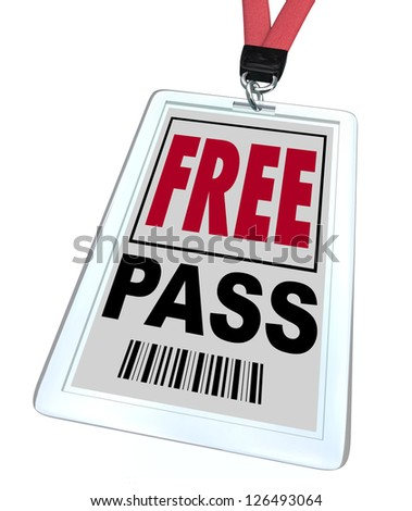A badge and lanyard reading Free Pass - stock photo
